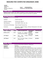 Resume Format For Engineering Jobs by Sample Resume For Computer Science Engineering Students Free