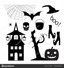 halloween set of silhouettes cobweb pumpkin bat hand drawn