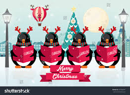 carolers penguins christmas vectorillustration stock vector