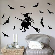creative home decor black halloween wall stickers old woman broom