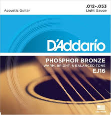d addario ej16 phosphor bronze light acoustic guitar strings d addario ej16 phosphor bronze light acoustic strings sweetwater