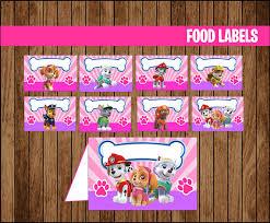 pink paw patrol food labels printable paw patrol food paw