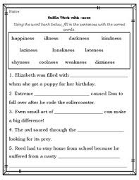 suffix worksheets to practice ness able ful less ly by