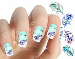 nail art decals water slide nail stickers peacock feather
