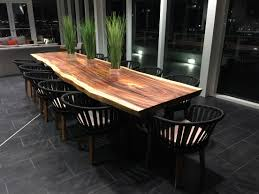 live edge outdoor table 14 w x 40 44 d x 30 h live edge slab with oil finish teak chairs w