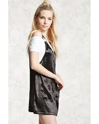 forever 21 satin overall dress in black lyst