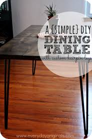 our finished diy dining table with hairpin legs
