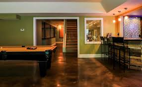 Concrete Floor Ideas Indoors Stained Concrete Floors Basement Contemporary With Pool Table
