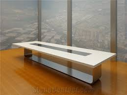 Quartz Conference Table Modern Office Meeting Table White Artificial Marble Stone Table