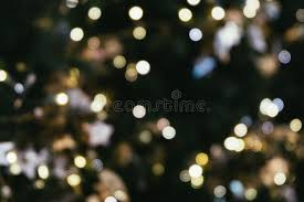 Hipster Lights Christmas Tree Bokeh Light In Green Yellow Golden Color Holiday