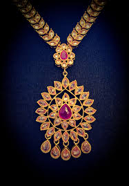 red necklace online images Long gold plated gold and red necklace earrings tikka set indian jpeg
