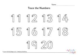trace the numbers 11 to 20