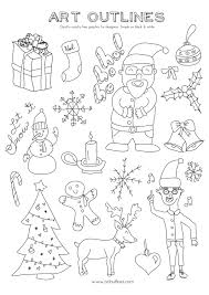 set of christmas illustrations art outlines full page 20
