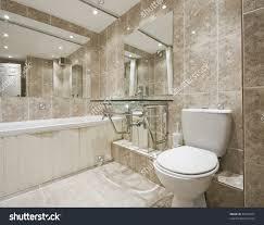 modern designer bathroom stone imitation ceramic stock photo modern designer bathroom with stone imitation ceramic tiles