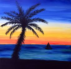 easy beach sunset paintings painting of sunset beach paintings