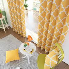 yellow moroccan tile printed room darkening grommet curtains