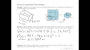 applied calculus optimizaation worksheet youtube
