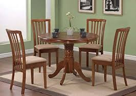 pedestal kitchen table and chairs amazon com 5pc pedestal dining table chairs set dark oak finish