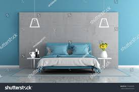 contemporary master bedroom double bed concrete stock illustration