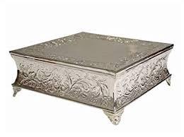 cake plateau balsacircle 22 silver square embossed wedding cake