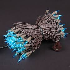 teal mini lights set 100 light brown wire 50
