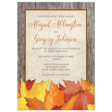 invitations fall rustic wood and leaves