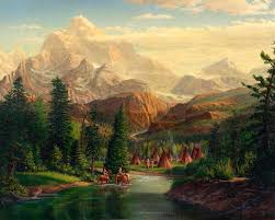 Mountain Landscape Paintings by Indian Village Trapper Western Mountain Landscape Oil Painting