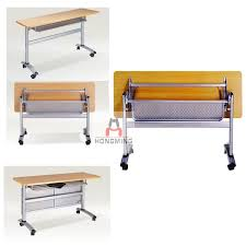 Collapsible Conference Table Rail Board Shelves Folding Multipurpose Folding Conference Table