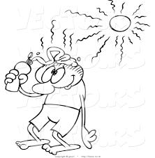 vector drawing caroon guy putting sun block head