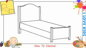 How To Draw A Bed How To Draw A Bed Easy Step By Step For Kids Beginners Children
