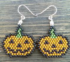 25 pumpkin beaded earrings halloween jack o lantern earrings