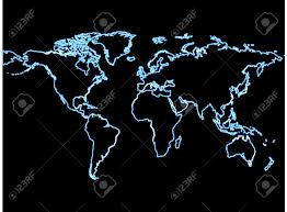 Bird View Map World Map With Neon Effect Black Background In Bird View