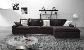Modular Sleeper Sofa by Black Microfiber L Shaped Sofa With Chaise Lounge Combination With