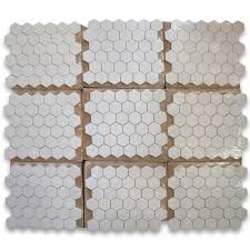 thassos white 2 inch hexagon mosaic tile polished marble from