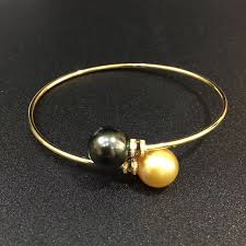 gold pearl bangle bracelet images Real diamond 18k gold tube bangles bracelet for women girls mum jpg