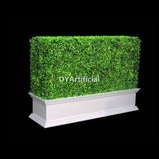 Fake Bushes Artificial Boxwood Hedge With Gray Color Planter Dongyi
