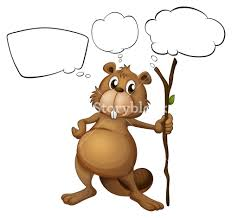 illustration of a beaver holding a stick with empty callouts on a