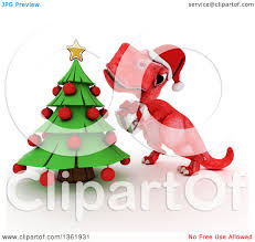 clipart of a 3d red tyrannosaurus rex dinosaur holding a gift by a