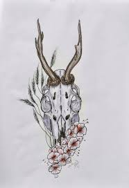 roedeer skull tattoo design better quality by mysweetdarkness