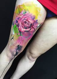 watercolor rose tattoo scene360