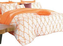 reversible sateen orange and white duvet cover set contemporary