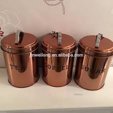 copper effect retro food canisters u0026 bread bin storage set 4 pc