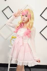 lovely long wavy anime wig light blonde and pink highlights anime