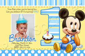 Mickey Mouse 1st Birthday Card Mickey Mouse 1st Birthday Invitation Template Free Mickey Mouse