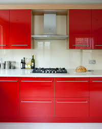 bespoke red kitchen with oak wood finish amberth interior design