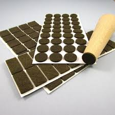 25x25 mm square felt pads brown sheet of 32 pads for hardwood