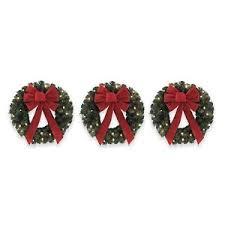 wreaths set of 3 led 18 inch pre lit artificial