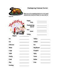 thanksgiving grammar worksheet by megan whitaker tpt