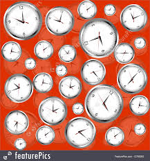 abstract clocks abstract patterns clocks over red background stock illustration