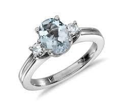 aquamarine and diamond ring aquamarine and diamond ring in 18k white gold 8x6mm blue nile